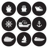 Icone della nave messe illustrazione di stock