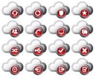 Icone della nube rosse illustrazione di stock