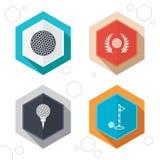 Icone della palla da golf Simbolo del premio della corona dell'alloro Fotografie Stock