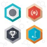 Icone della palla da golf Simbolo del premio della corona dell'alloro Fotografie Stock Libere da Diritti