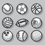 Icone della palla di sport, illustrazione disegnata a mano di vettore Immagini Stock