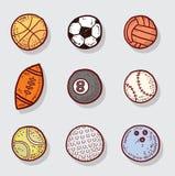 Icone della palla di sport, illustrazione disegnata a mano di vettore Fotografie Stock Libere da Diritti