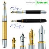 Icone della penna di fontana Immagini Stock