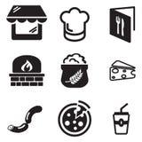 Icone della pizzeria Fotografia Stock