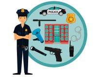 Icone della polizia e del poliziotto Fotografia Stock Libera da Diritti