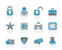 Icone della polizia e di previdenza sociale Immagini Stock
