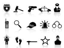 Icone della polizia impostate Immagini Stock Libere da Diritti