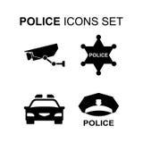 Icone della polizia impostate Illustrazione di vettore Fotografie Stock Libere da Diritti