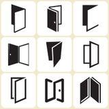 Icone della porta messe illustrazione di stock