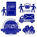 Icone della posta impostate Il concetto della consegna delle lettere e degli attributi della posta illustrazione di stock