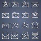 Icone della posta, linea sottile progettazione Fotografie Stock