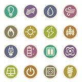 Icone della produzione di energia e del combustibile Immagine Stock