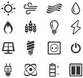 Icone della produzione di energia e del combustibile Immagini Stock Libere da Diritti