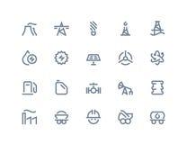 Icone della produzione di energia e della benzina Linea serie Fotografie Stock