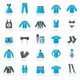 Icone della raccolta di modo e dell'abbigliamento Fotografia Stock Libera da Diritti