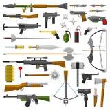 Icone della raccolta di vettore delle armi Immagini Stock Libere da Diritti