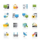 Icone della rete e del Internet di calcolatore illustrazione di stock