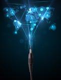 Icone della rete sociale che escono da cavo elettrico Immagine Stock