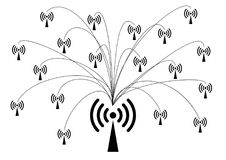 Icone della rete wireless e di WiFi fotografie stock libere da diritti