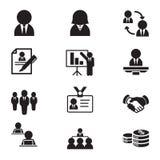 Icone della risorsa umana & della gestione del personale della siluetta Immagini Stock