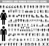 Icone della risorsa umana e di affari Fotografia Stock