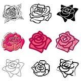 Icone della Rosa impostate Immagini Stock