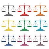 Icone della scala della giustizia messe Immagine Stock Libera da Diritti