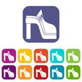 Icone della scarpa delle donne messe Fotografie Stock Libere da Diritti
