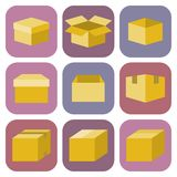 Icone della scatola di carta di Brown messe Immagine Stock Libera da Diritti
