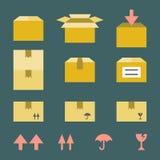 Icone della scatola di carta di Brown messe Fotografia Stock Libera da Diritti