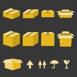 Icone della scatola di carta di Brown messe Fotografia Stock