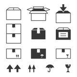 Icone della scatola di carta messe con il segno fragile Immagini Stock Libere da Diritti