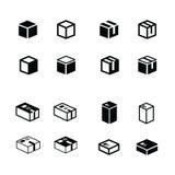 Icone della scatola messe fotografia stock