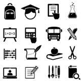 Icone della scuola, di apprendimento e di istruzione Fotografia Stock Libera da Diritti