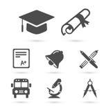 Icone della scuola di istruzione su bianco Elementi di vettore Immagini Stock Libere da Diritti