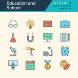 Icone della scuola e di formazione Raccolta riempita 48 di progettazione del profilo royalty illustrazione gratis