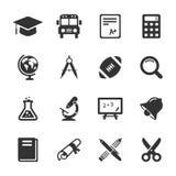 Icone della scuola e di istruzione bianche Vettore Immagine Stock