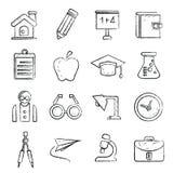 Icone della scuola, stile di schizzo Immagine Stock Libera da Diritti