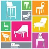 Icone della sedia messe Immagini Stock Libere da Diritti