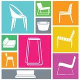 Icone della sedia messe Immagine Stock