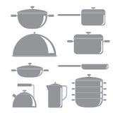 Icone della siluetta degli strumenti della cucina messe Immagini Stock