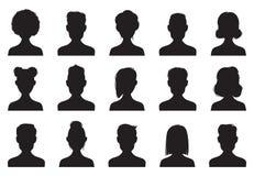 Icone della siluetta degli utenti E Insieme anonimo dell'icona di vettore dell'avatar delle teste della persona royalty illustrazione gratis