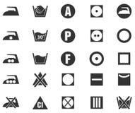 Icone della siluetta del segno della lavanderia Fotografia Stock Libera da Diritti