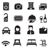 Icone della siluetta dell'hotel messe Fotografia Stock