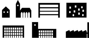 Icone della siluetta di architettura - funzioni Fotografia Stock