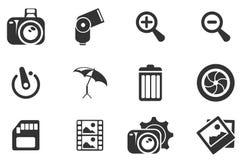 Icone della siluetta di fotografia Immagine Stock