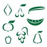 Icone della siluetta di varia frutta Immagine Stock Libera da Diritti