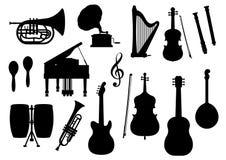 Icone della siluetta di vettore degli strumenti musicali illustrazione di stock