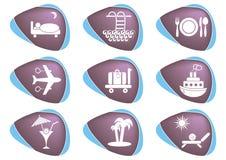 Icone della sistemazione e di viaggio Fotografia Stock Libera da Diritti