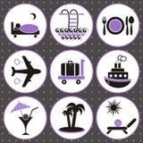 Icone della sistemazione e di viaggio Immagine Stock Libera da Diritti